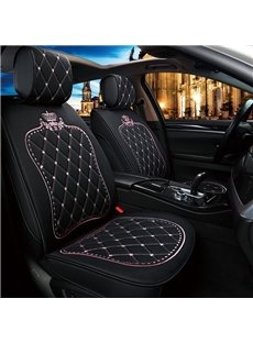 5 Seats Princess Style Crown Pattern Linen Material High-End, Elegant And Luxurious Universal Fit Seat Covers