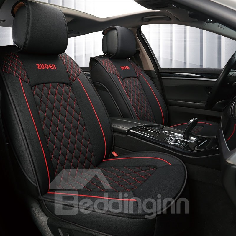 Simple Style Grid Design Colored Borders Linen Material Water Resistant And Breathable Warm Colour Tone Universal Fit Seat Covers