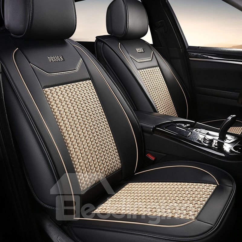 PASTORAL STYLE Colored Borders Large Area Is Woven With Ice Silk Material Pure And Fresh Universal Fit Seat Covers