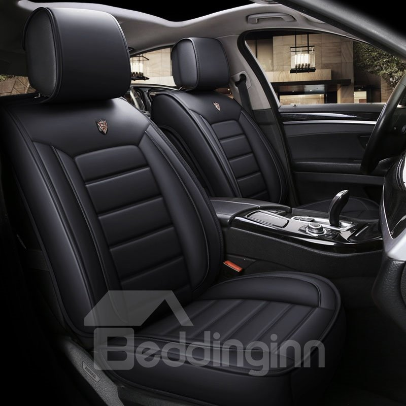 Simple Style Color Block Breathable And Soft Airbag Compatibility Leather Universal Fit Seat Covers