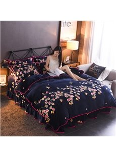 Pink And Yellow Leaves Reactive Printing Flannel 4-Piece Navy Blue Bedding Sets/Duvet Cover