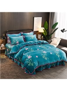 Pink Flowers Reactive Printing Flannel 4-Piece Peacock Blue Bedding Sets/Duvet Cover