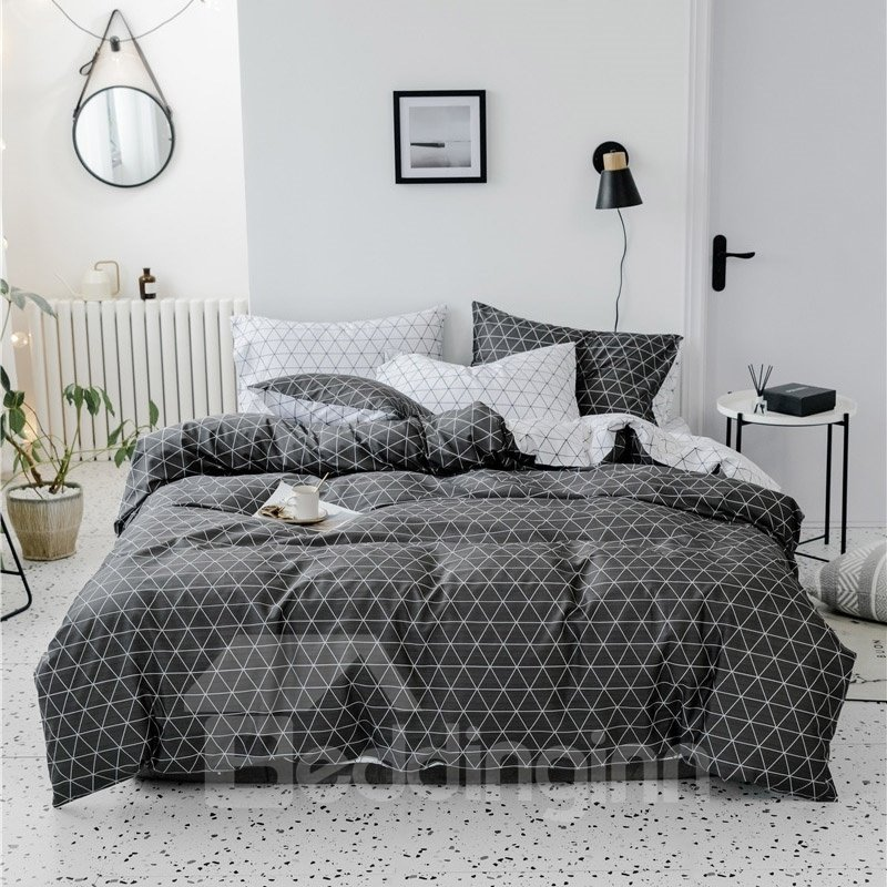 Little Triangle Simple Pattern Black And White Double-sided 4-Piece Cotton Bedding Sets/Duvet Covers