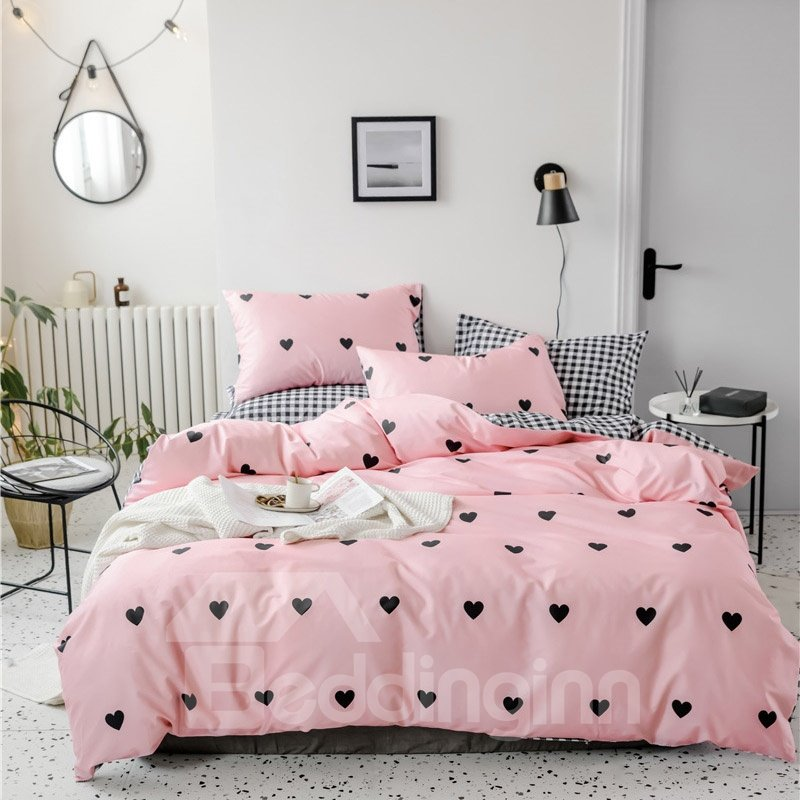 Black Heart Pattern Black And White Plaid Double-sided 4-Piece Cotton Bedding Sets/Duvet Covers