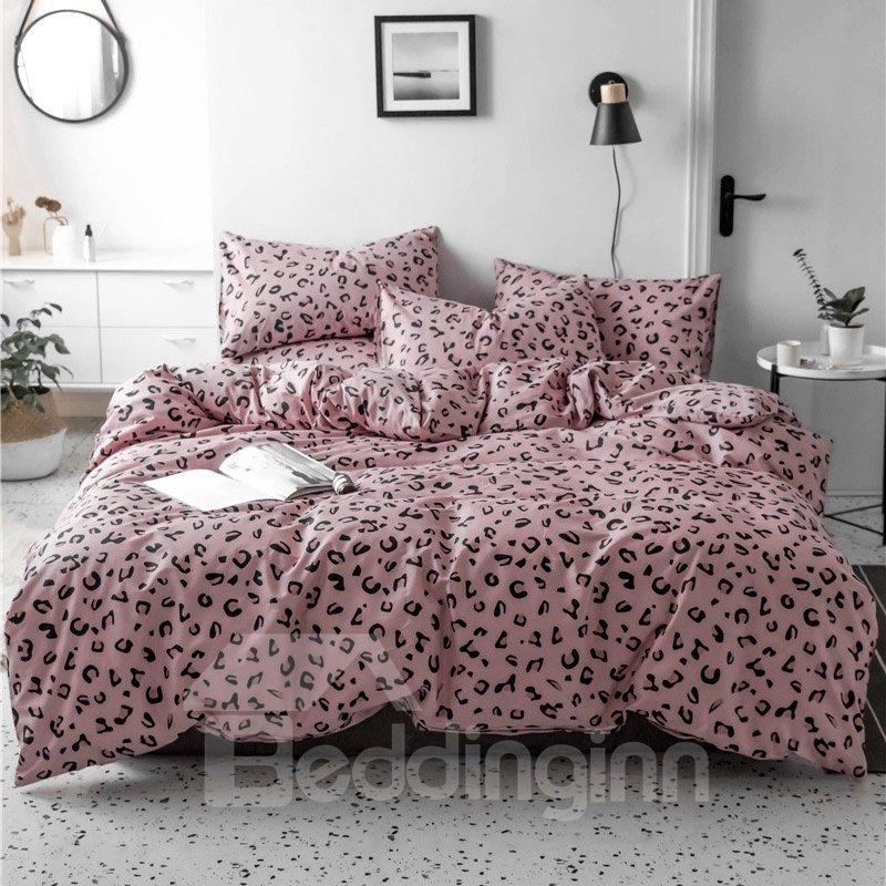 Pink Leopard Grain Pattern 4-Piece Cotton Bedding Sets/Duvet Covers