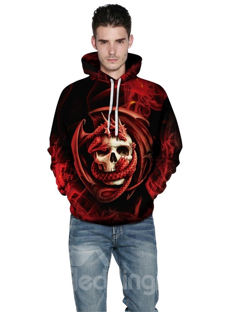 Long Sleeve Unique Red Skull Pattern 3D Painted Pullover Hoodies