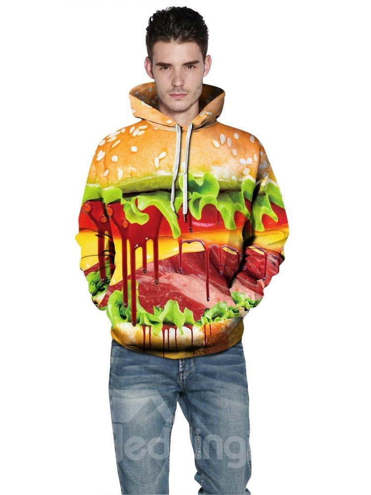 Long Sleeve Delicious Hamburger Pattern 3D Painted Casual Hoodies