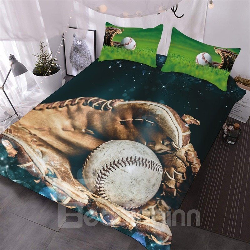 White Baseball In The Baseball Glove 3D Printed 3-Piece Polyester Comforter Sets