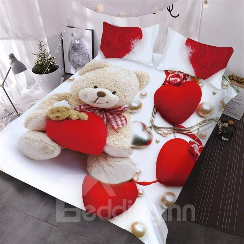 Sweet Bear With A Red Heart 3D Printed 3-Piece Polyester Comforter Sets