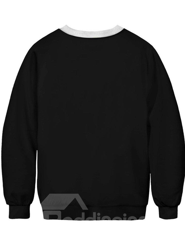 Long Sleeve Round Neck Black Bleeding Skull 3D Painted Pullover Winter Men