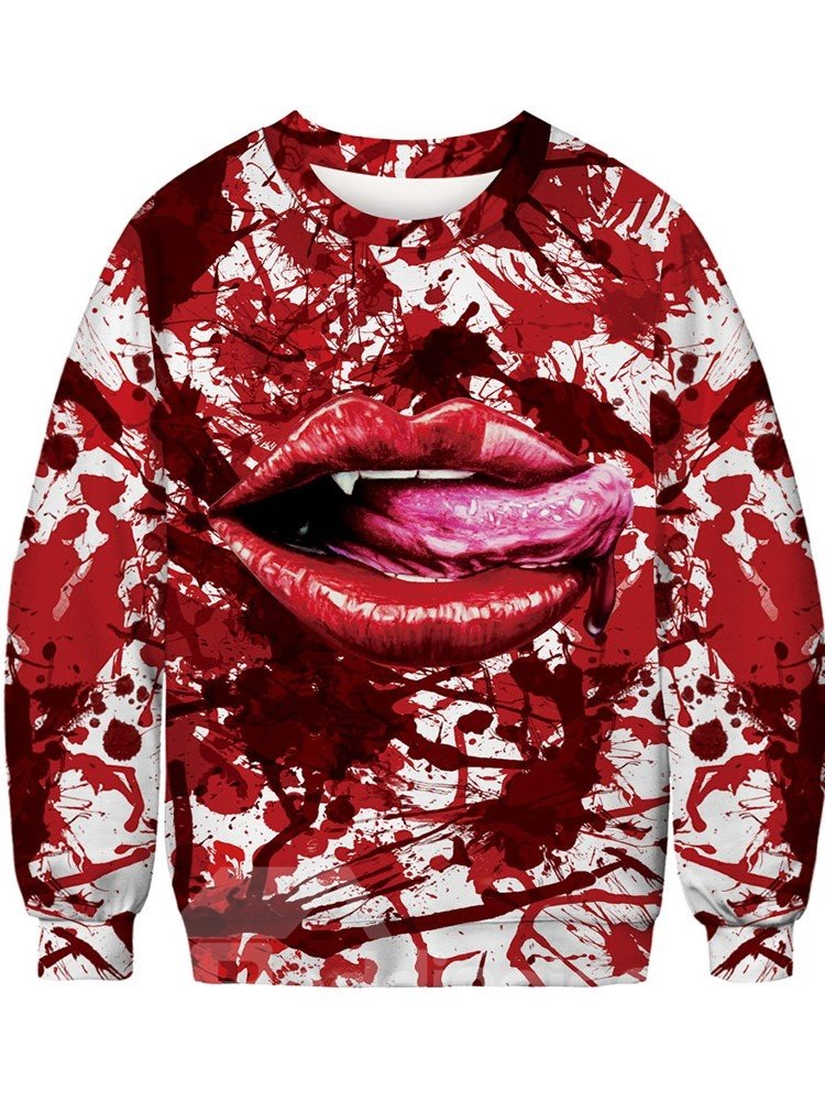 3D Painted Red Mouth Full of Blood Pattern Pullover Loose Men