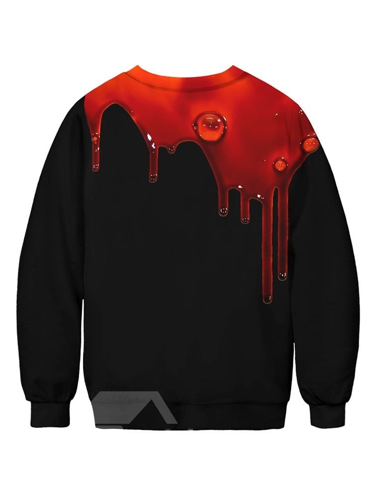 Long Sleeve Black Color Bleeding Pattern 3D Painted Round Neck Men