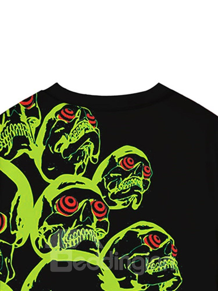 Long Sleeve Round Neck Black Color Green Skulls 3D Painted Casual Men