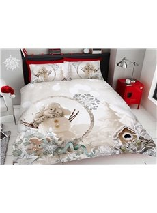 Undertint Christmas Snowman In A Hat 3D Printed 4-Piece Polyester Bedding Sets/Duvet Covers