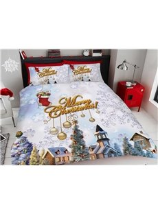 Merry Christmas Roof Carnival 3D Printed 4-Piece Polyester Bedding Sets/Duvet Covers