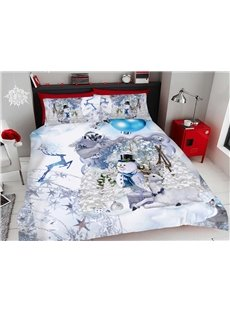 White Snowmen And The Deer At Christmas 3D Printed 4-Piece Polyester Bedding Sets/Duvet Covers