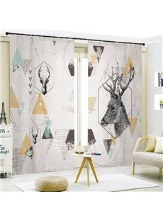 European Style Elk and Geometry 3D Painted Decorative Semi-blackout Curtains