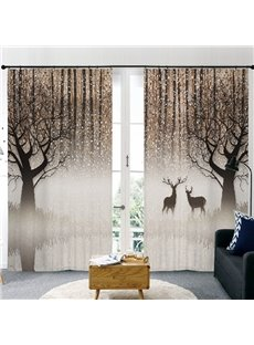 Modern Style Elk and Forest 3D Painted Decorative Semi-blackout Custom Curtains
