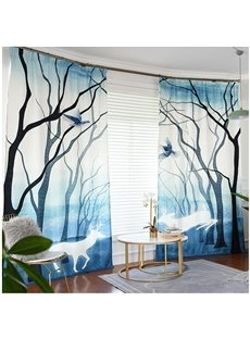 Light Blue 3D Elk and Forest Painted Custom Semi-blackout Curtains