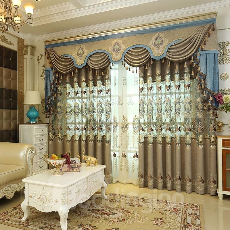 European Hollowed Out Embroidered Curtain Panels Pic