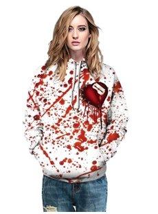 3D Bleeding Heart Painted Long Sleeve Women's Hoodie