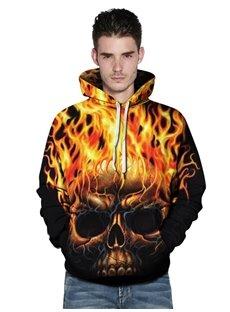 Long Sleeve Flame Skull Pullover 3D Fall Men's Hoodies