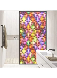 Colorful Diamond Pattern Painted Decorative Privacy Frosted Window Film