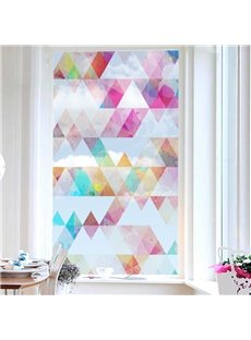 Pink Style Diamond Pattern Painted Decorative Privacy Frosted Window Film