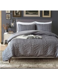 Gray Queen Sized Simple Plicated Design 3-Piece Polyester Bedding Sets/Duvet Covers