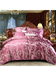 Pinkish Purple Jacquard Royal Style Reactive Printing 4-Piece Polyester Bedding Sets/Duvet Covers