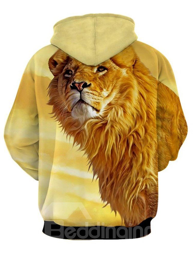 Long Sleeve Lion 3D Printed Thick Hooded Men