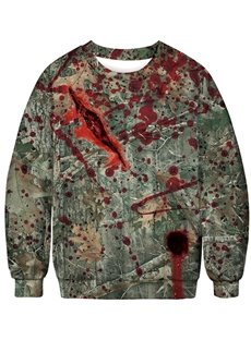 Personality Horrible Wound 3D Painted Pullover Men's Hoodies