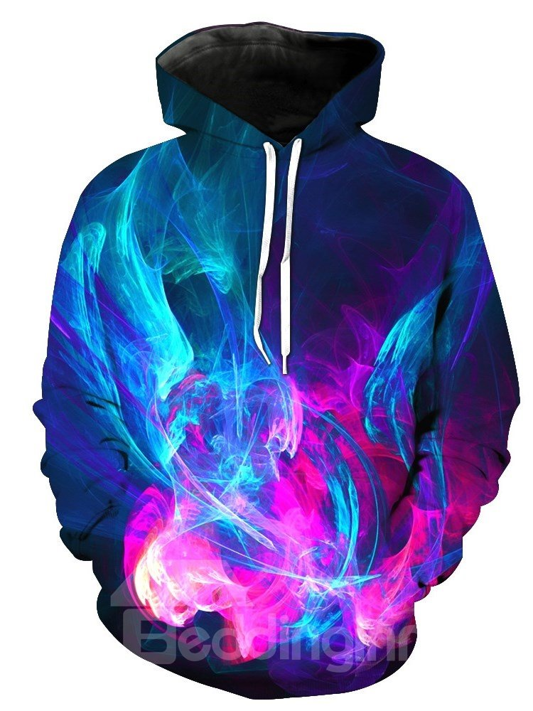 Cool Colorful Light 3D Printed Pullover Front Pocket Thick Men