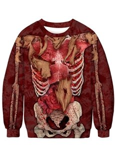 3D Printed Internal Organs Round Neck Pullover Thick Fall Men's Hoodies