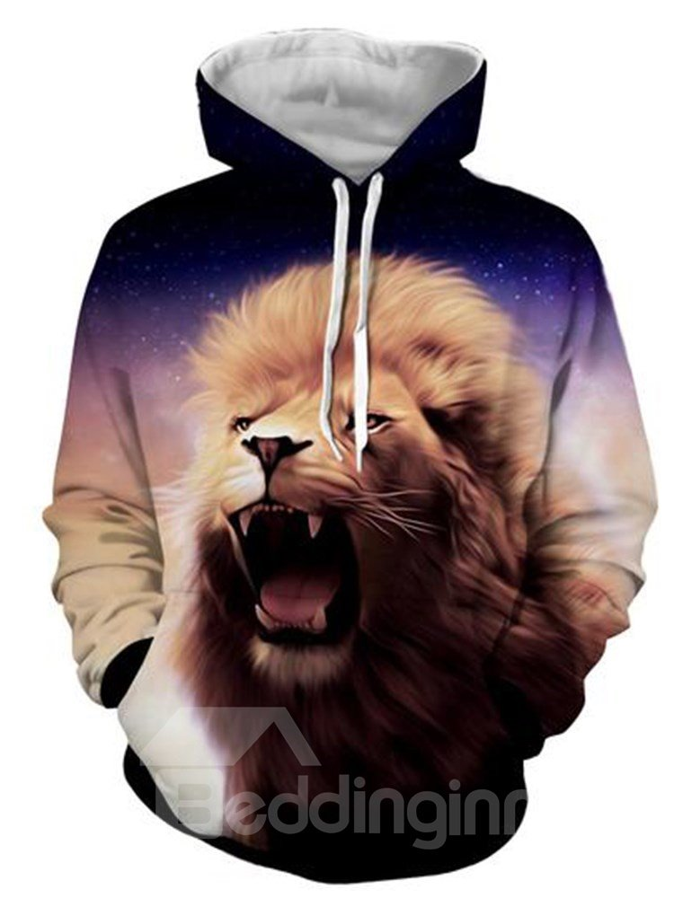 Long Sleeve 3D Lion Face Front Pocket Pullover Thick Casual Men