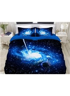 Mysterious Blue Galaxy Universe Soft 3D Printed 4-Piece Polyester Bedding Sets/Duvet Covers