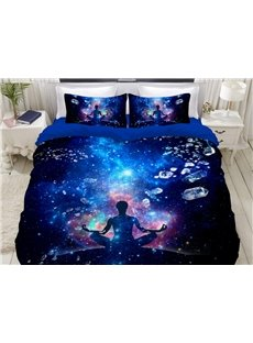 A Meditator In The Blue Galaxy Soft 3D Printed 4-Piece Polyester Bedding Sets/Duvet Covers