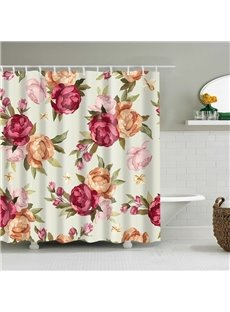 Antique Watercolor Seamless Floral Peony Shower Curtain
