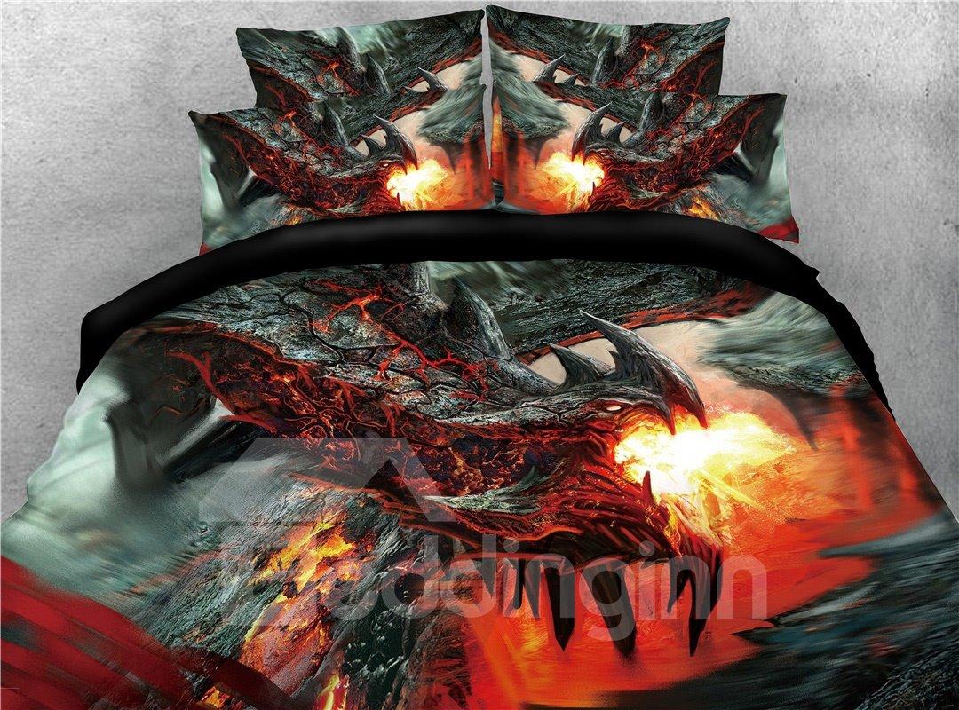 Black Dragon Spouting Fire Warm 3d Printed 5 Piece Comforter Sets Pic