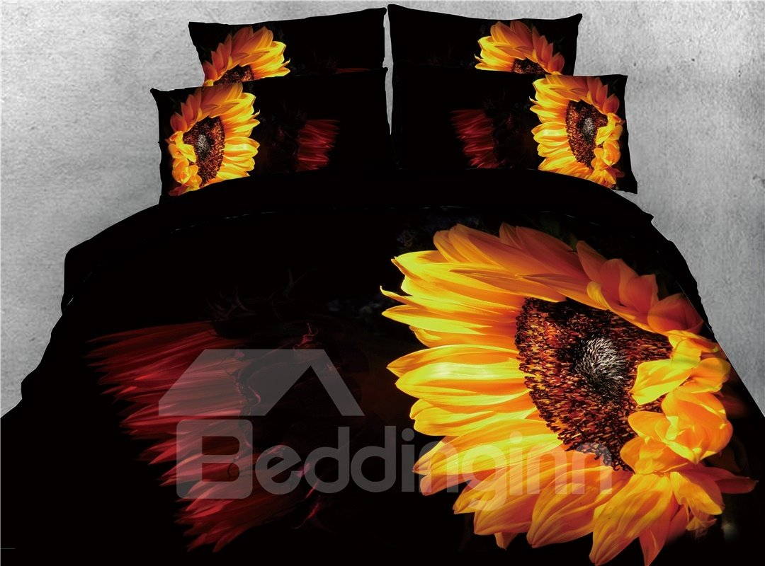 Yellow Black Sunflower Warm 3d Printed 5 Piece Comforter Sets Pic