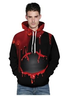 Black and Red Color Block Blood 3D Painted Long Sleeve Thick Front Pocket Men's Hoodies
