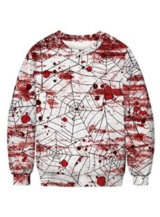 White Color Spider Web and Blood-stained Round Neck Long Sleeve Pullover Men's Hoodies