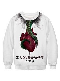 Casual Style White color with Wounded Heart Round Neck Long Sleeve Pullover Men's Hoodies