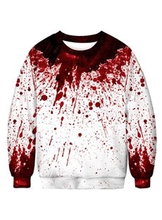 White and Red Bloodstain 3D Round Neck Long Sleeve Men's Hoodies