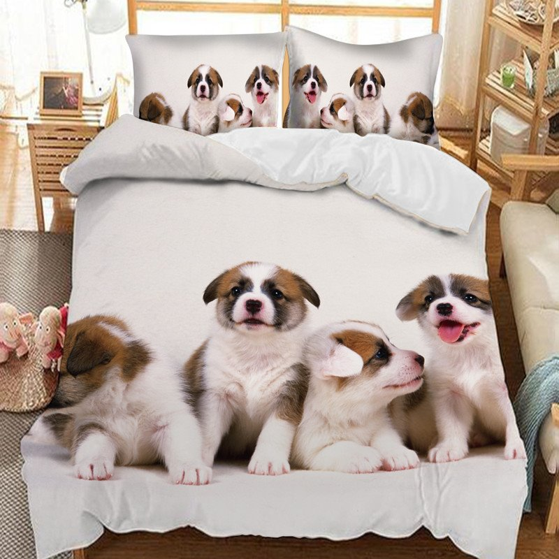 Four Lovely Dogs Soft 3D Printed Polyester 3-Piece Bedding Sets/Duvet Covers