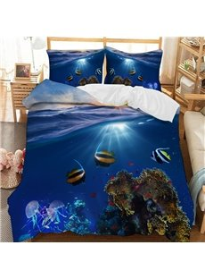 Fish Of The Underwater World Soft 3D Printed Polyester 3-Piece Bedding Sets/Duvet Covers