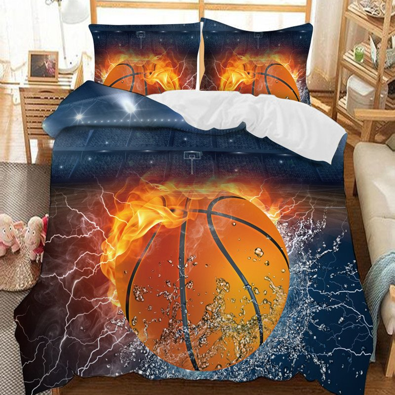 A Basketball Between Water And Fire Soft 3D Printed Polyester 3-Piece Bedding Sets/Duvet Covers