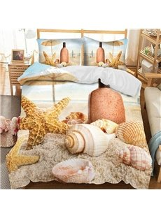 Whelks And Starfish On The Beach Soft 3D Printed Polyester 3-Piece Bedding Sets/Duvet Covers