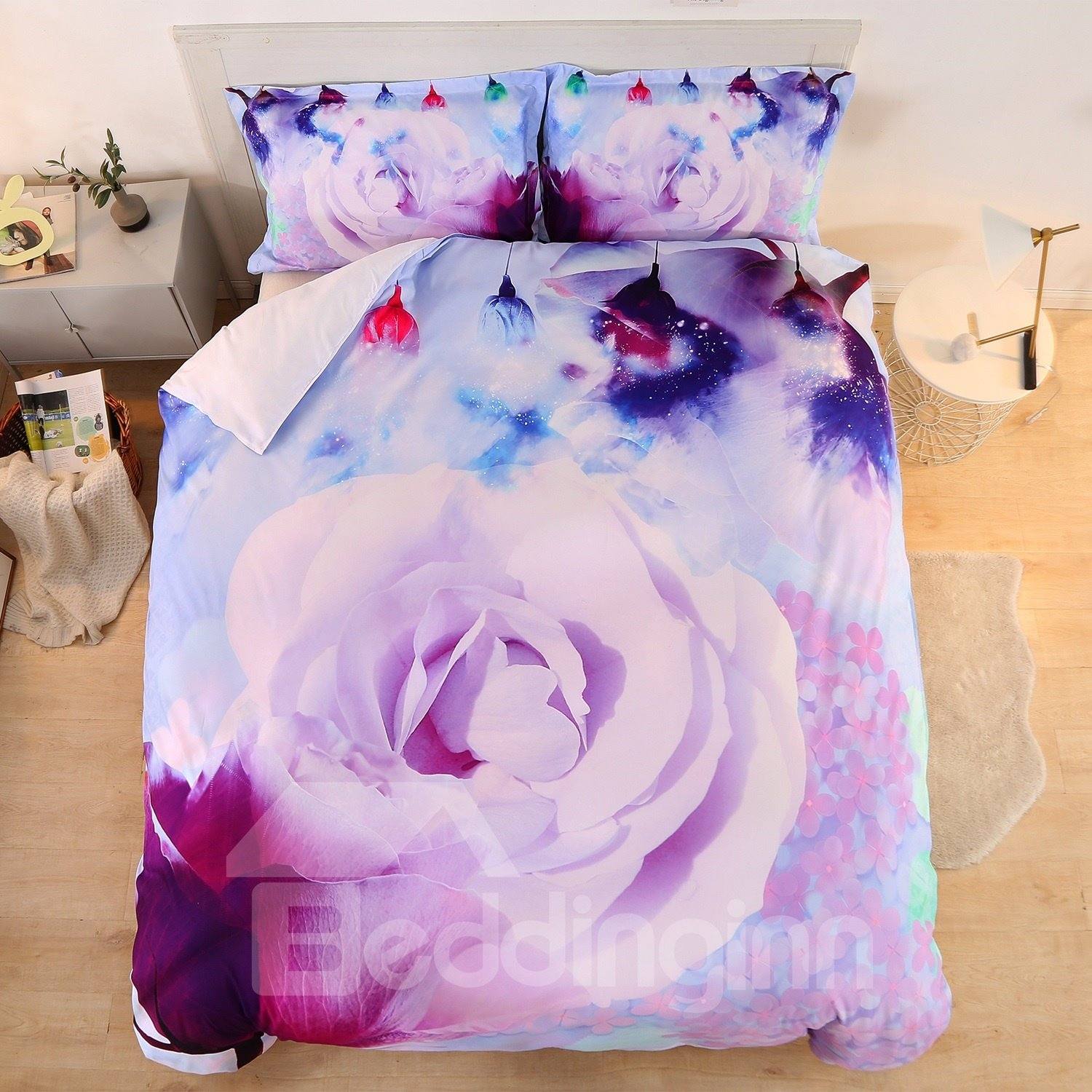 Lilac Rose Soft 3D Printed Polyester 3-Piece Bedding Sets/Duvet Covers