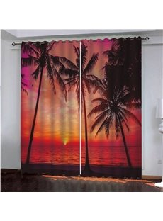 Beautiful Sunset Glow and Coconut Trees 3D Printed Custom Blackout Curtains